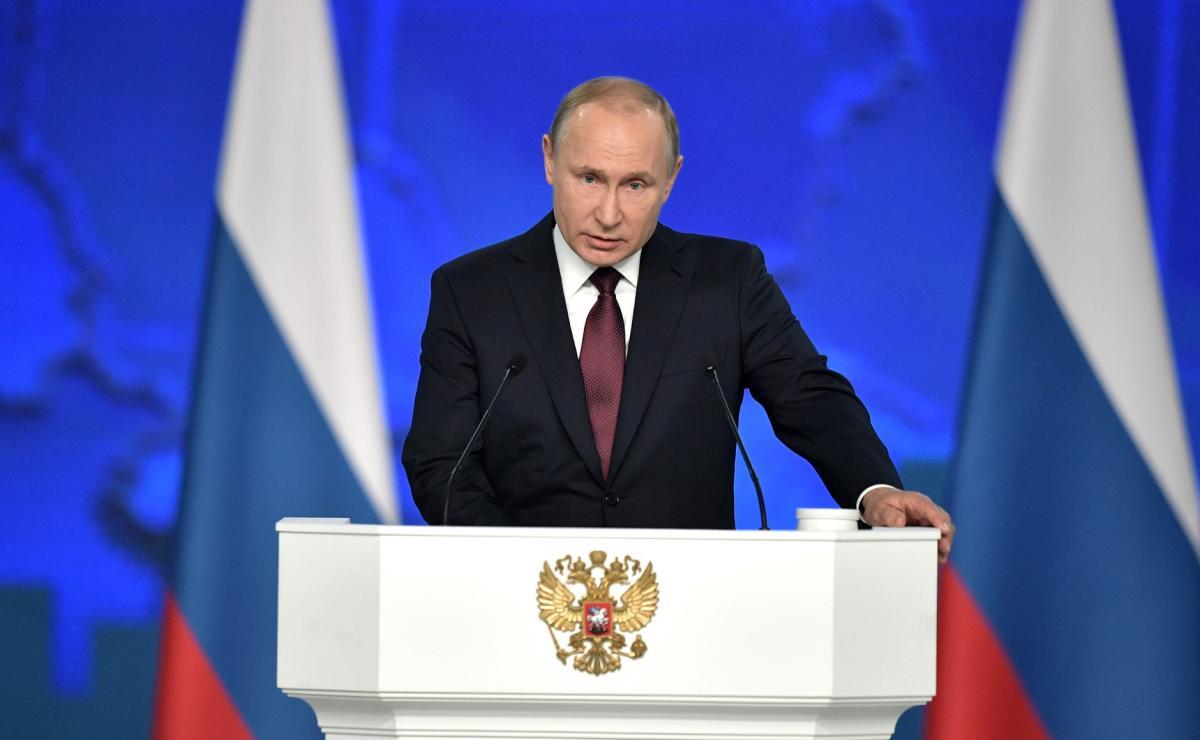 Владимир Путин на послании Федеральному Собранию.
