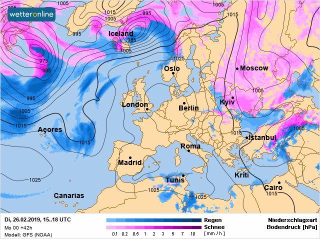 Карта погоды в Украине и Европе на 26 февраля / facebook.com/tala.didenko