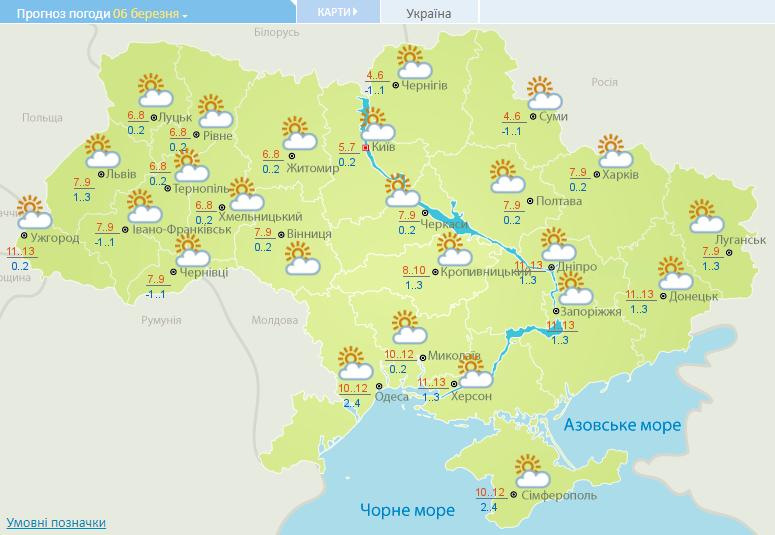 В Украине 6 марта днем максимальная температура прогнозируется +13
