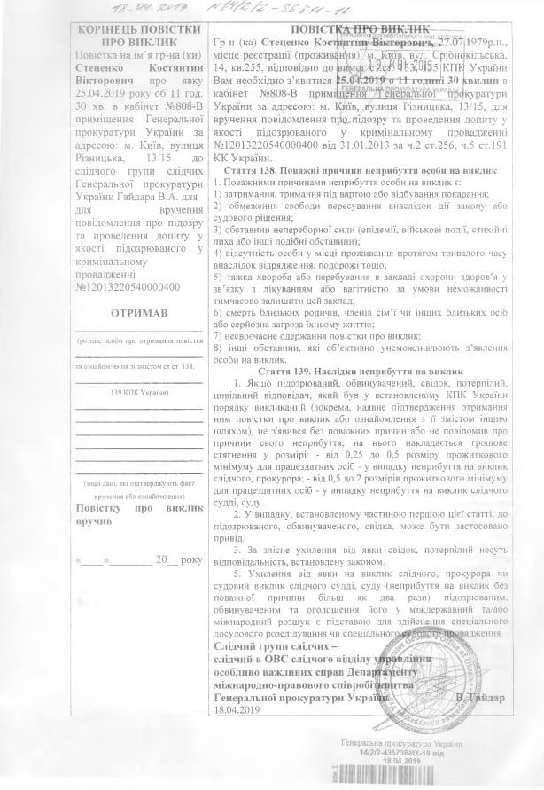 Повестки К.Стеценко