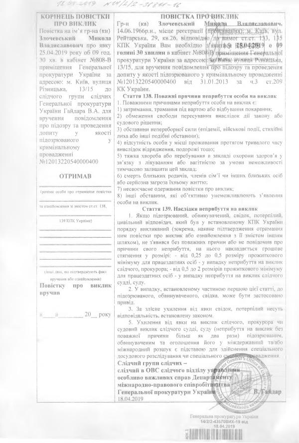 Повестки Н.Злочевскому