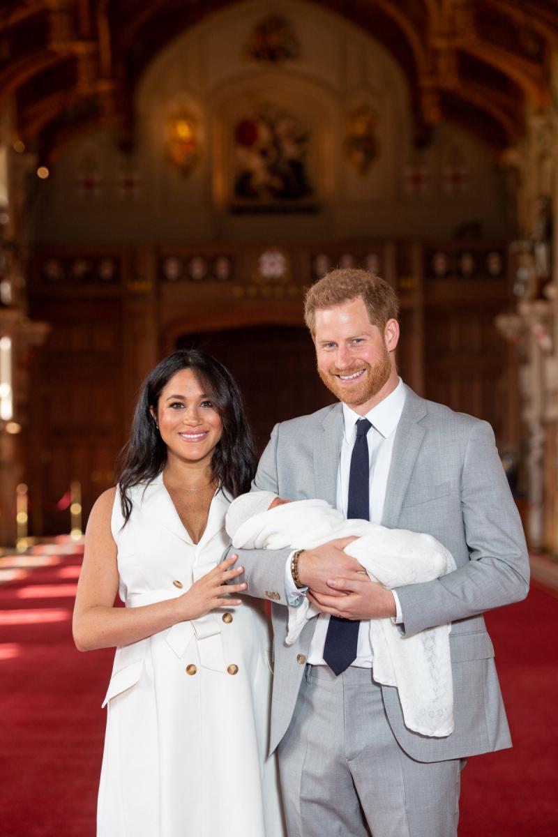 Меган Маркл, принц Гарри и их новорожденный сын