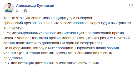 В Харькове ЦИК сняла с выборов конкурирующего с Грановским кандидата от Слуги народа