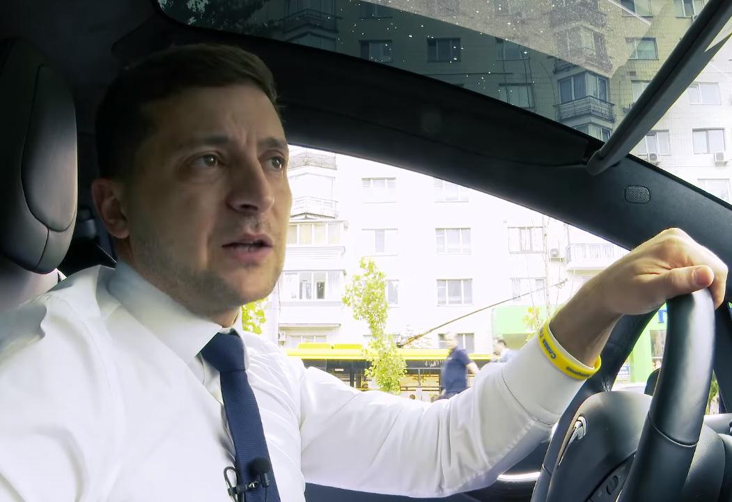 Зеленский, Tesla, авто, руль