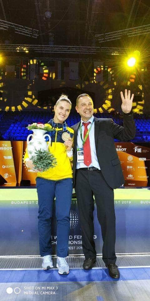 Ольга Харлан с президентом федерации фехтования Вадимом Гутцайтом
