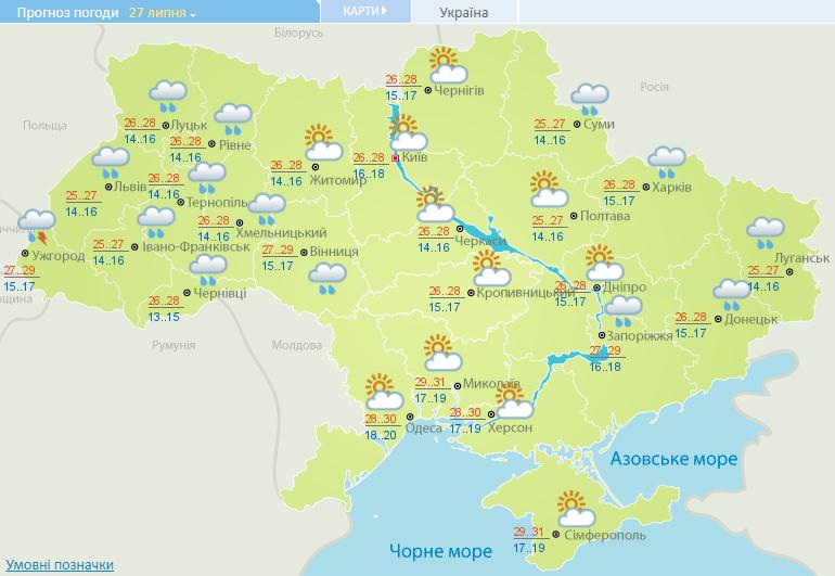 В Киеве 28-29 июля днем температура может составить +31 градус