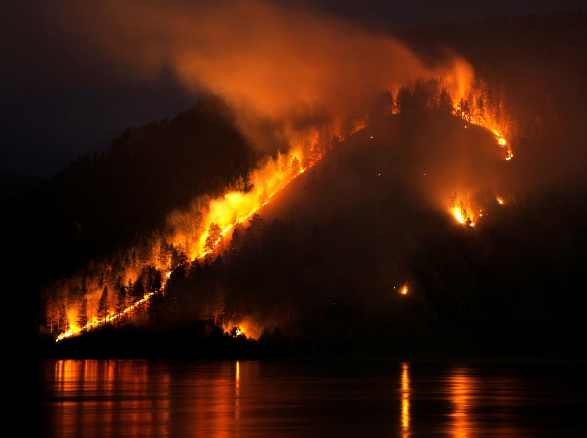 Сибирь, лес, пожар
