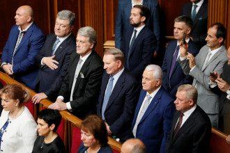 Президенты Украины Петр Порошенко, Виктор Ющенко, Леонид Кучма и Леонид Кравчук / Reuters