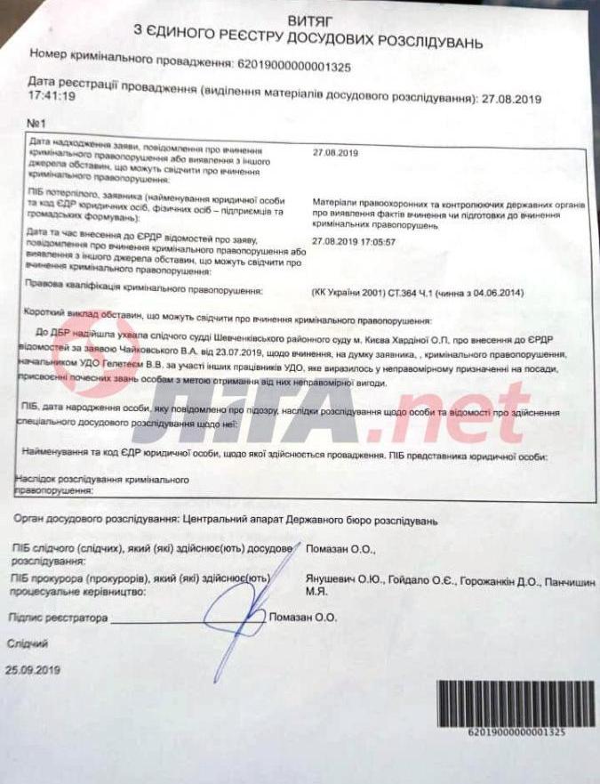 В ГБР завели дело на Валерия Гелетея / news.liga.net