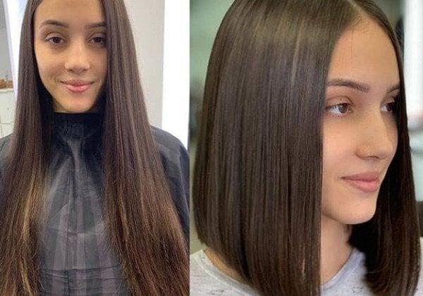 Удлиненное каре фото до и после стрижки база цветов