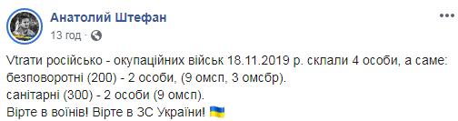 Анатолий Штефан Штирлиц написал, что в понедельник на Донбассе ликвидированы два боевика ДНР
