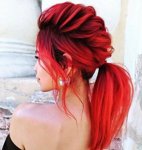 Покрасить волосы омбре красным