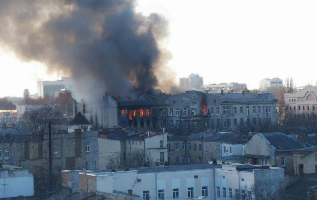 пожар в колледже Одессы