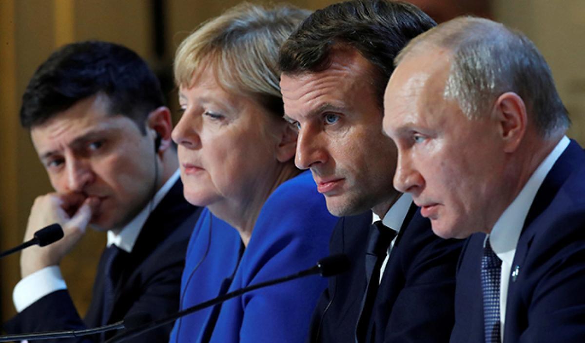 Путин Макрон Меркель Зеленский