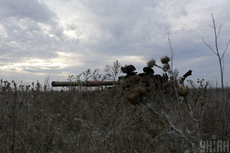 Донбасс,подорванный украинский танк
