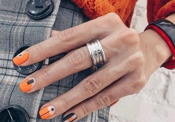 Оранжевый маникюр 2020
