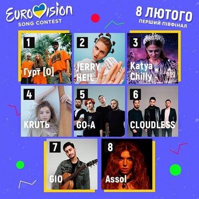Отбор на Евровидение 2020 участники первого полуфинала