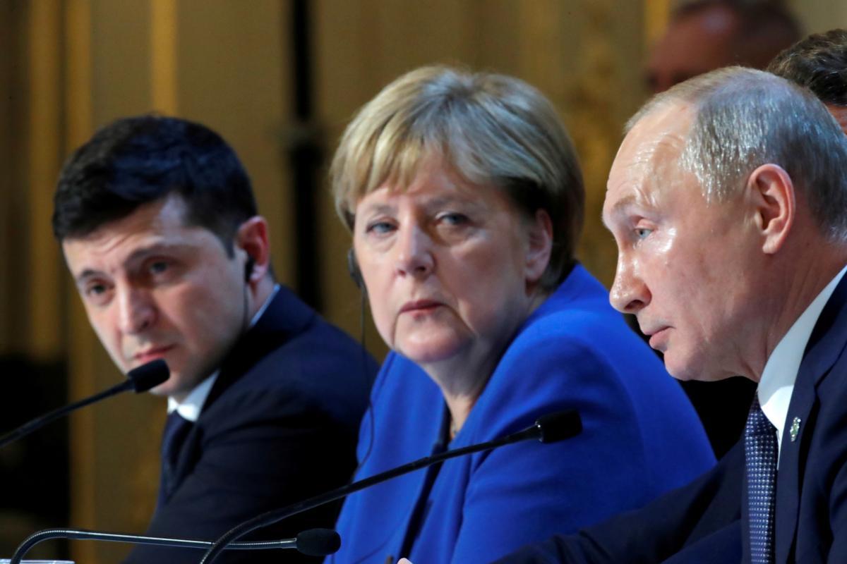 Зеленский,Меркель, Путин
