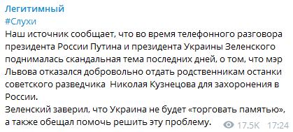 Зеленський і Путін обговорили скандальну тему – ЗМІ