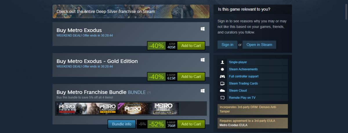 Страница цены Metro Exodus в Steam / 4A Games