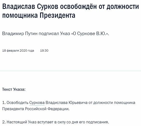 """""""Йому кінець"""": Путін звільнив Суркова"""