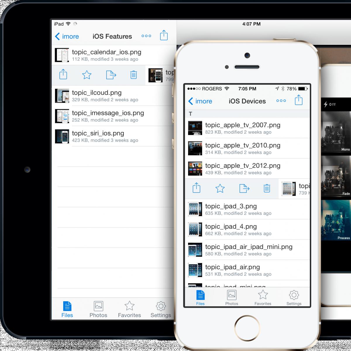 Интерфейс Dropbox на iOS