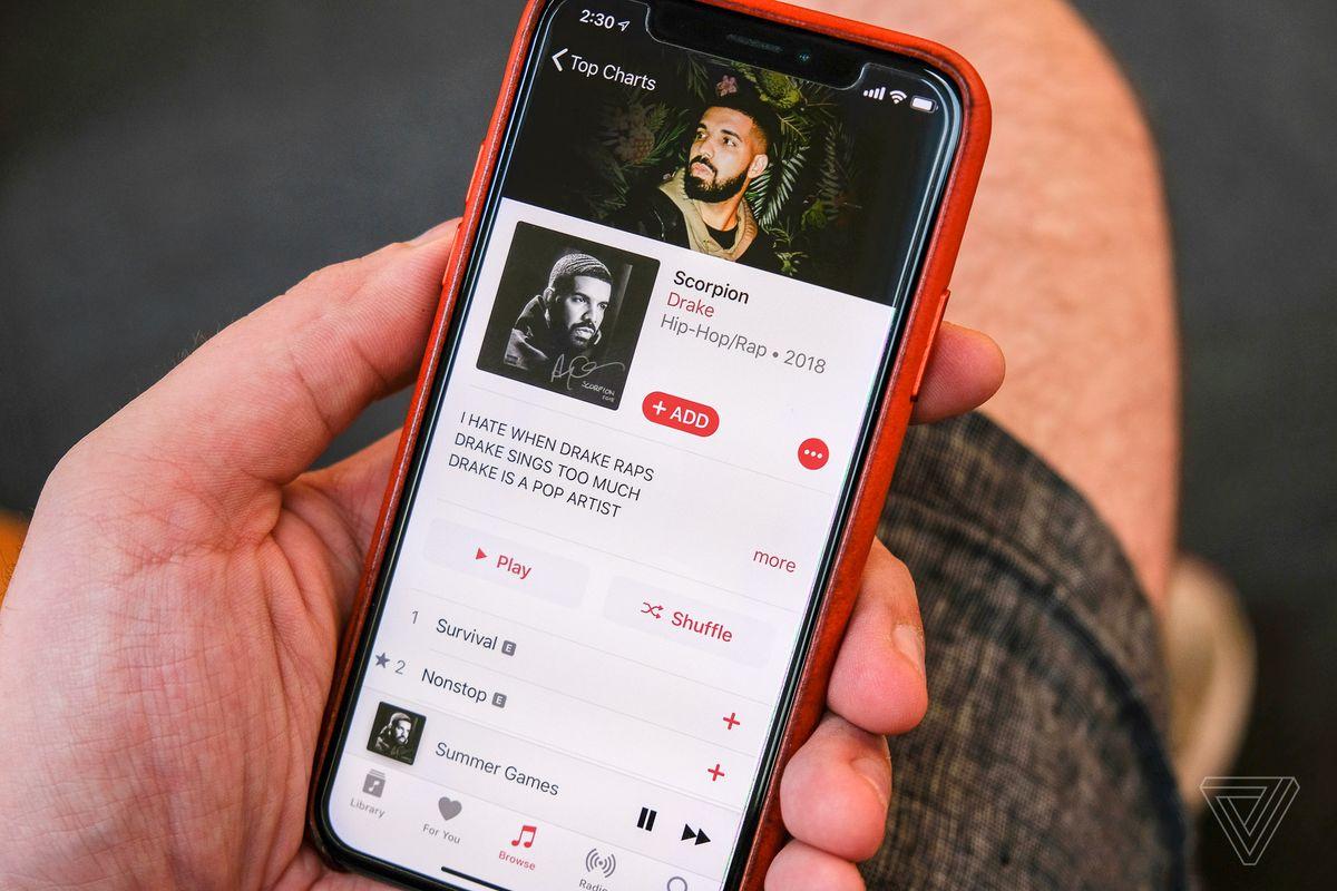 Интерфейс программы Apple Music