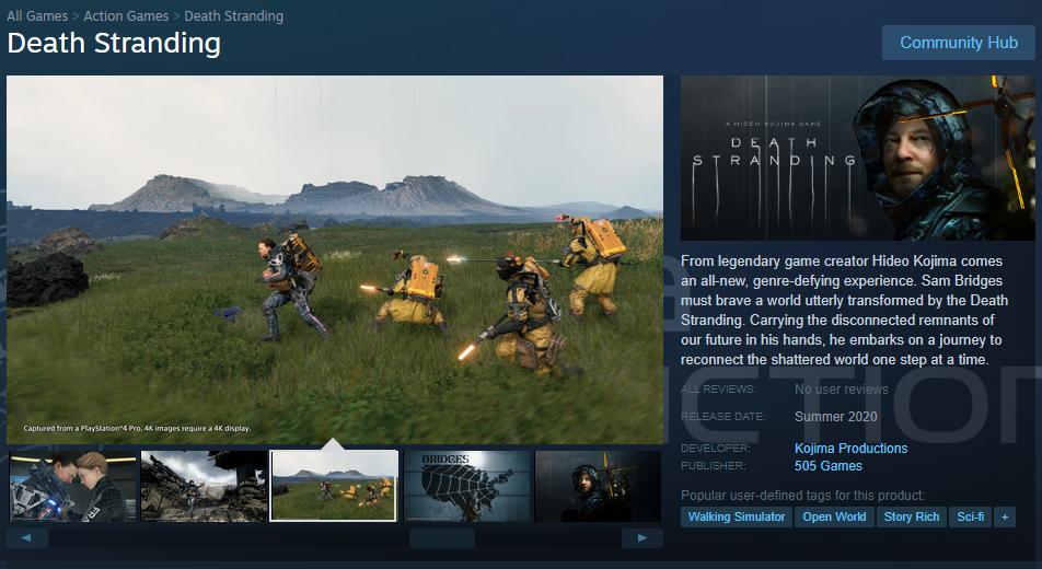 Внешний вид страницы в Steam