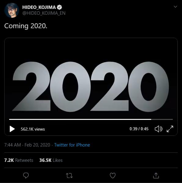 Твит Кодзимы с загадочным видео Death Stranding
