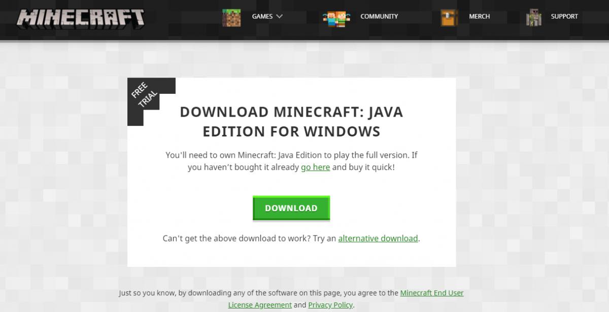 Меню скачивания Minecraft с официального сайта