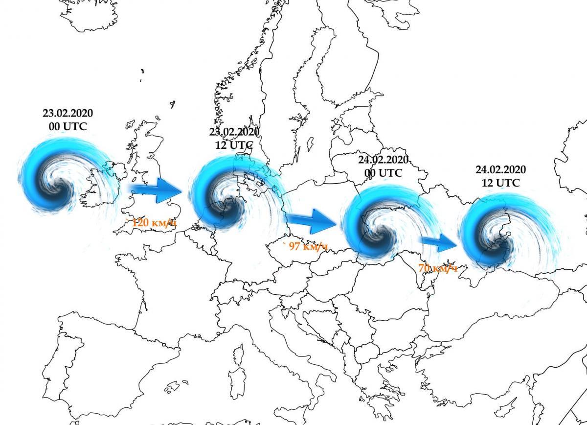 Прогнозируемая траектория и скорость смещения циклона в течение 23 - 24 февраля
