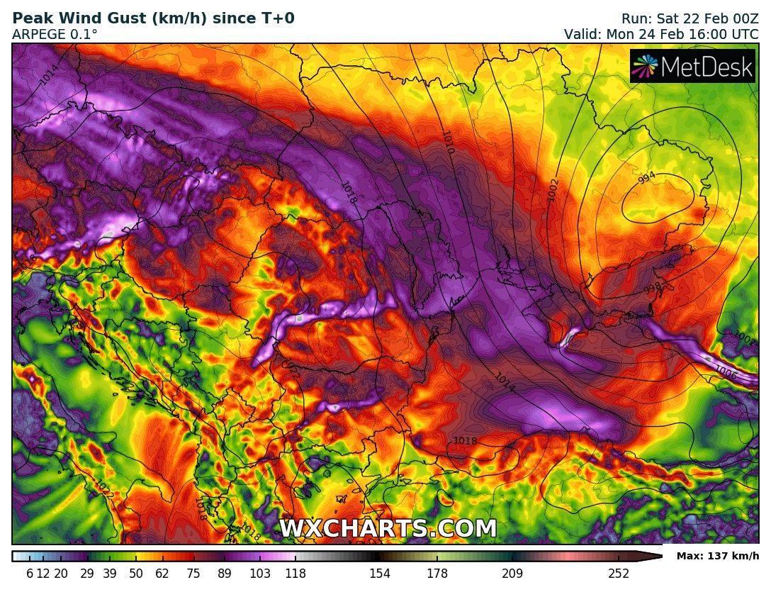 Прогноз максимальной скорости ветра на 24 февраля по модели ARPEGE