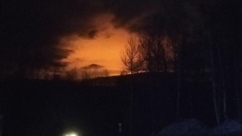 Взрыв и пожар в Пермском крае России
