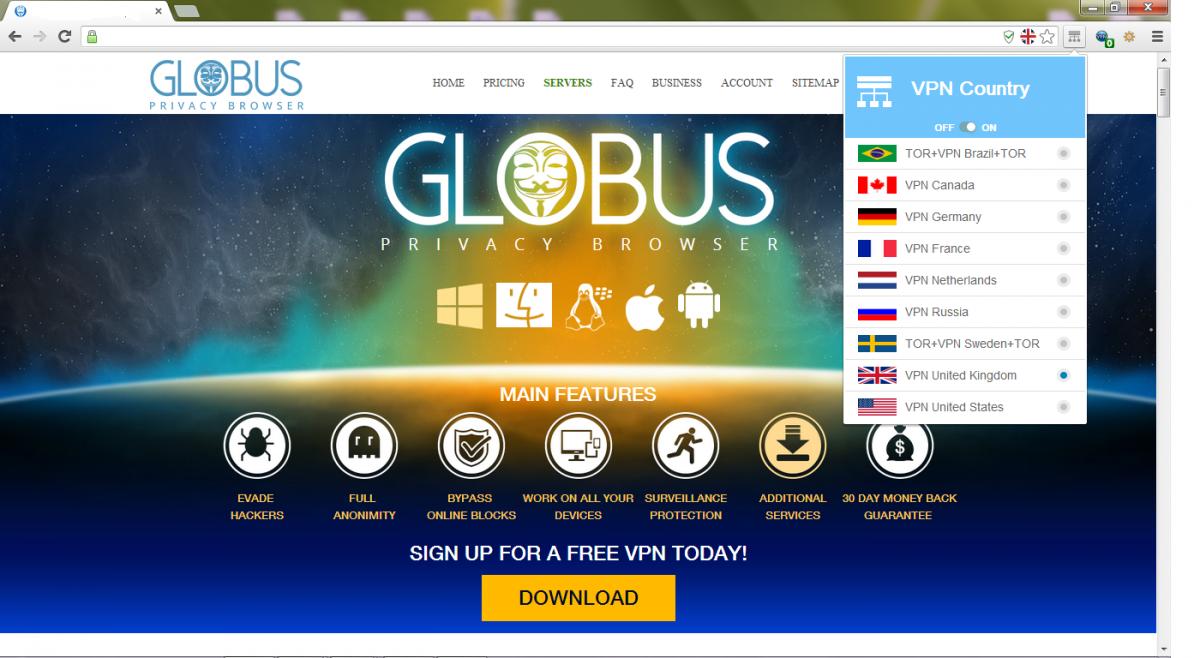 Интерфейс браузера Globus