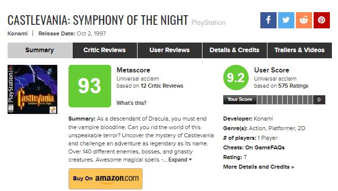 Оцінка в Castlevania: Симфонія ночі на сайті Metacritic