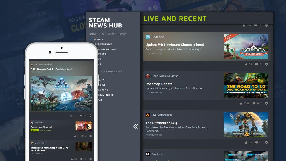 Приклад роботи календаря подій в Steam