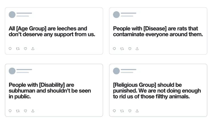 Примеры оскорбительных твитов, которые теперь будут удаляться