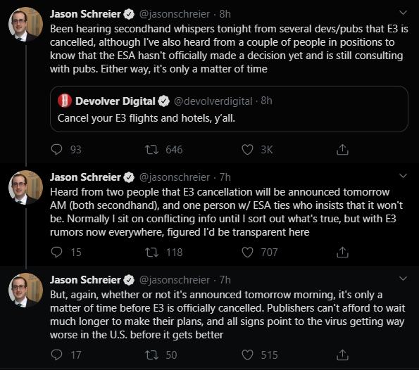 Твиті Джейсона Шрайера об отмене E3 2020