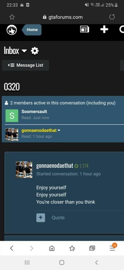 Скриншот сообщения gonnaenodaethat с GTAForum