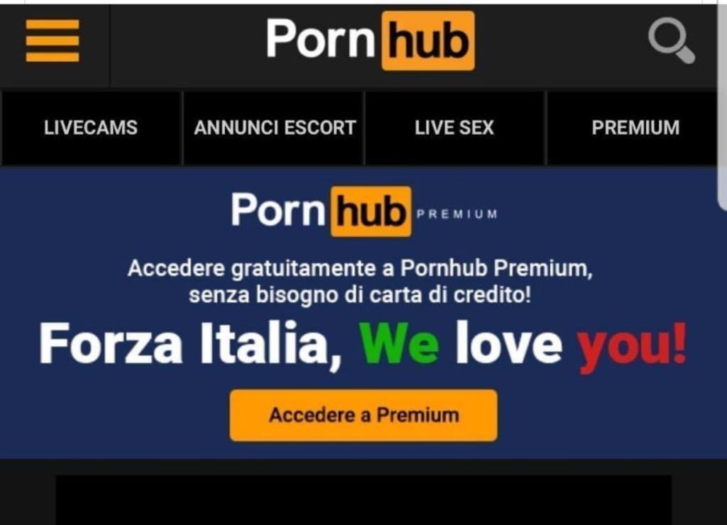Pornhub в Італії працює безкоштовно