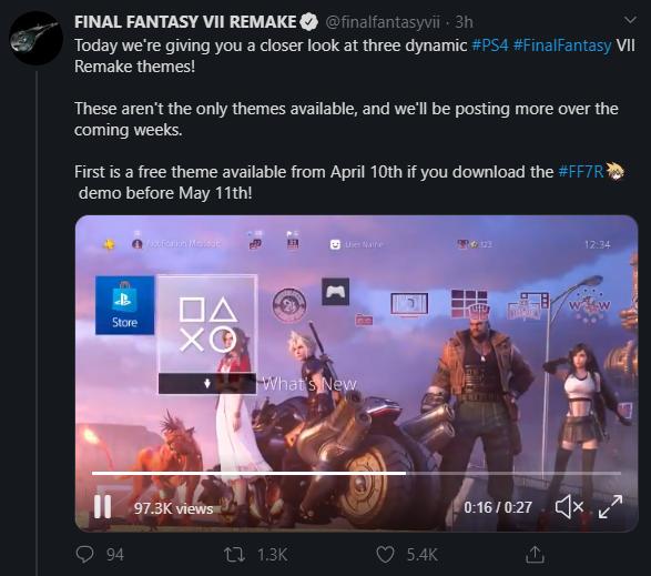 Вид першої динамічної теми з Final Fantasy 7 Remake