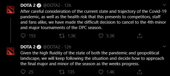 Твіти студії Valve з приводу скасування турнірів