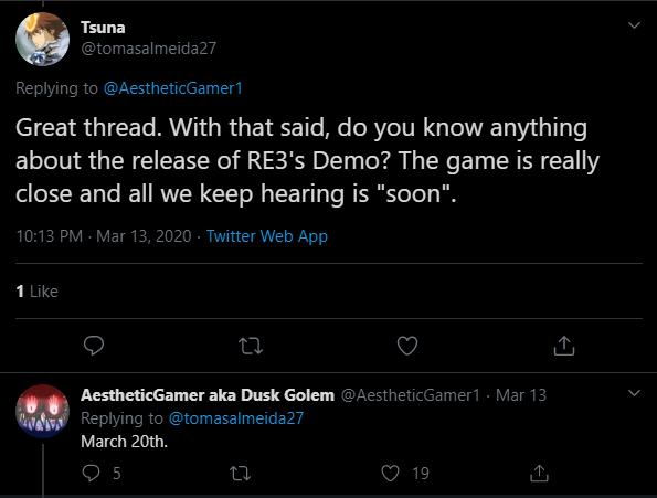 Відповідь на запитання з приводу дати виходу Resident Evil 3 Кам демо