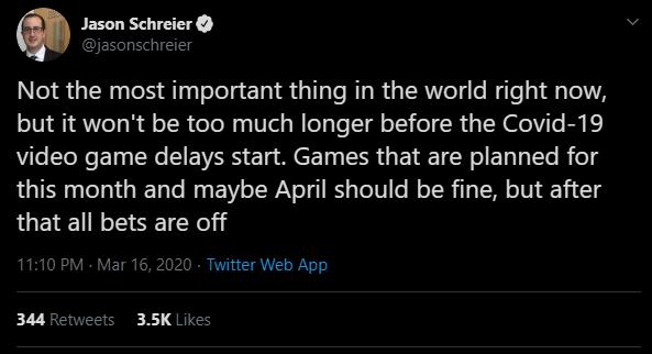 Твит Джейсона Шрайера о возможном переносе игр