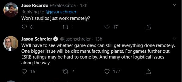 Твит Джейсона Шрайера о возможных проблемах при разработке игр