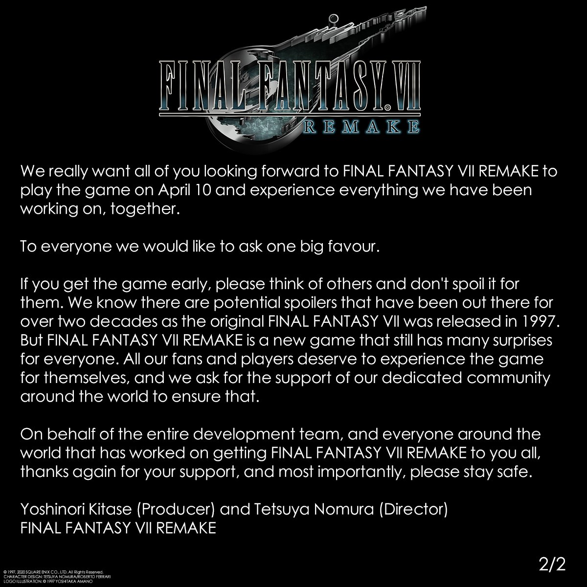 Обращение по поводу Final Fantasy VII Remake