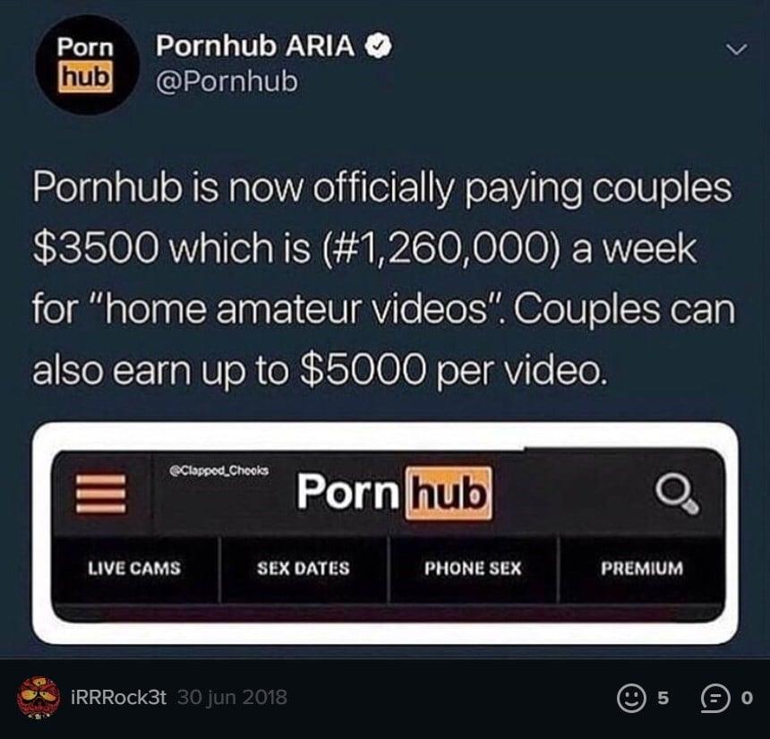 В Сети пошли слухи, что Pornhub платит за домашнее порно на карантине из-за коронавируса