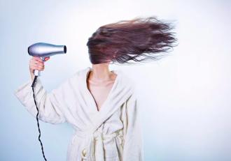 волосы, фен, женщина