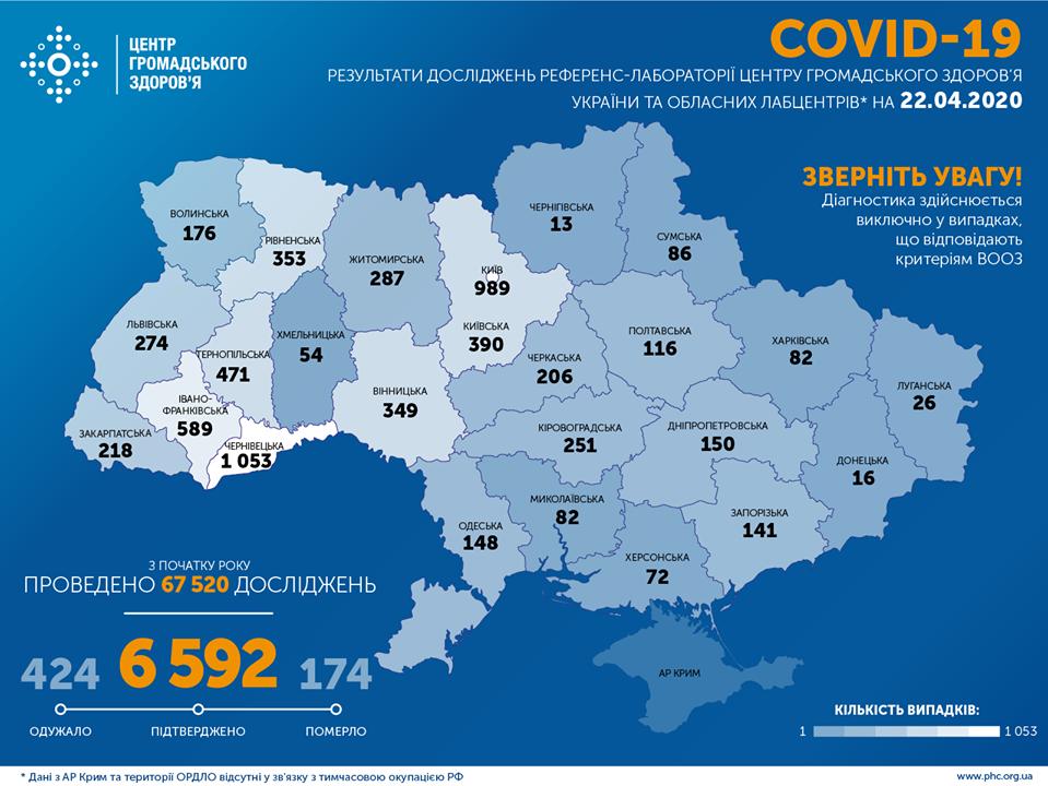 Коронавирус в Украине 22 апреля - карта