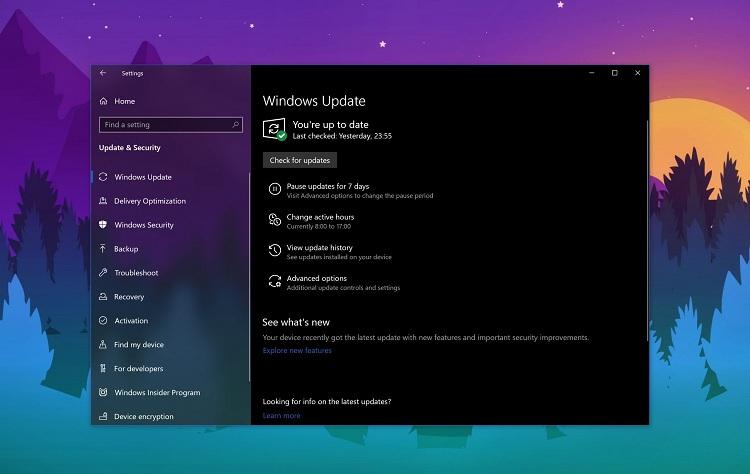 Меню обновления Windows 10